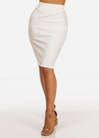 Image of Sexy White High Waisted Ribbed Skirt