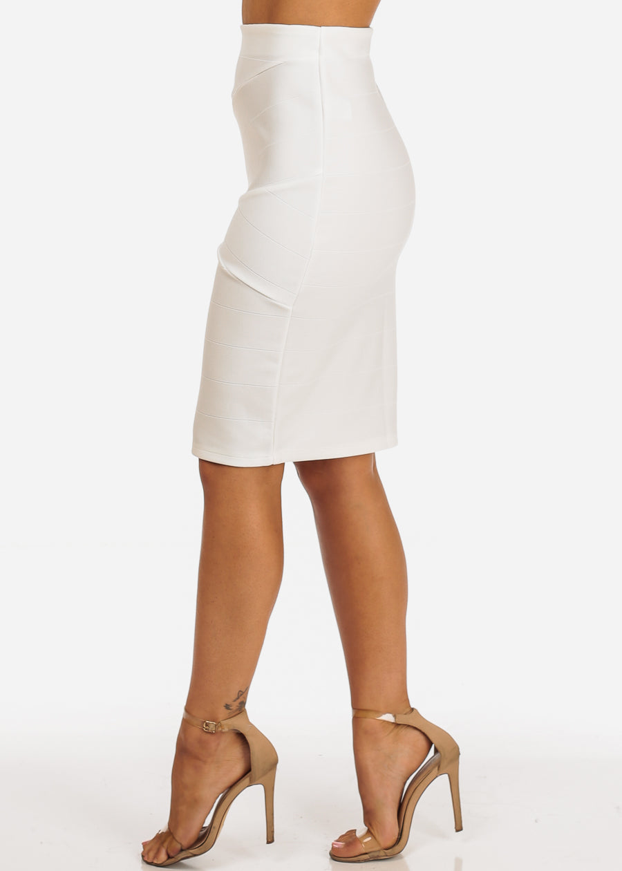 Sexy White High Waisted Ribbed Skirt