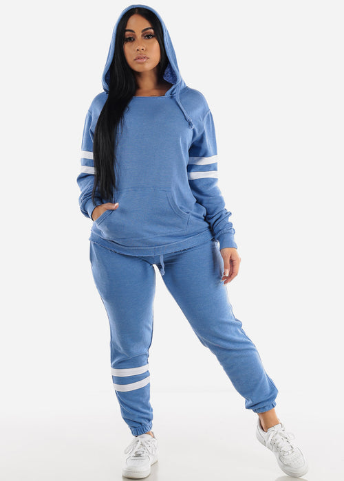 Long Sleeve Blue Fleece Hoodie