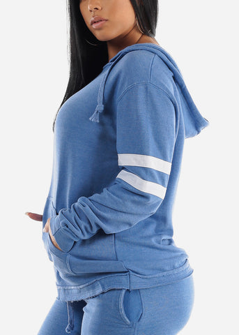 Image of Long Sleeve Blue Fleece Hoodie