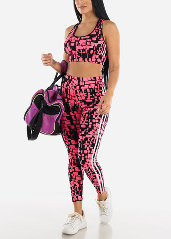 Stripe Trim Printed Sports Bra & Leggings Set