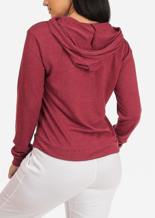 Cozy Long Sleeve High Neck Rose Sweater Top W Hood