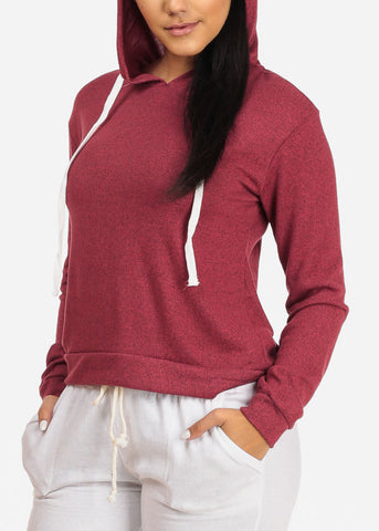 Image of Cozy Long Sleeve High Neck Rose Sweater Top W Hood