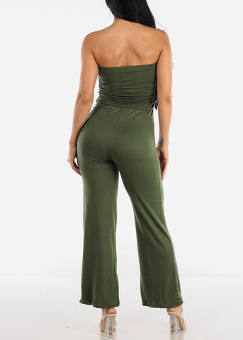 Image of Wide Legged Strapless Olive Jumpsuit