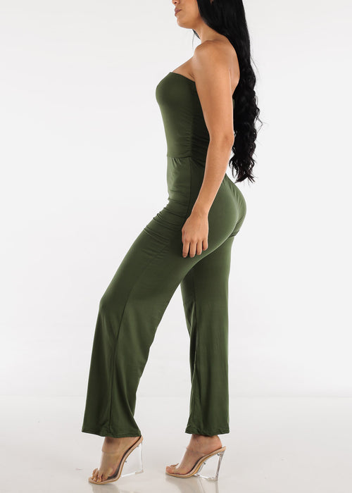 Wide Legged Strapless Olive Jumpsuit
