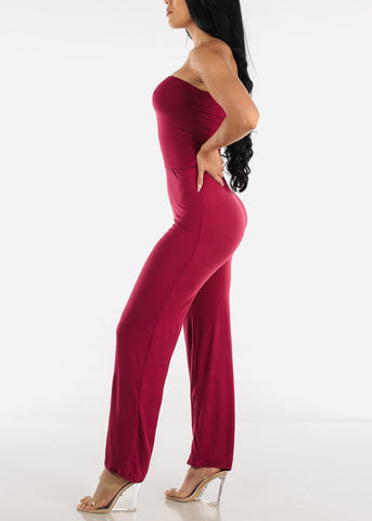 Image of Wide Legged Strapless Burgundy Jumpsuit