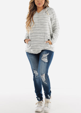 Image of Long Sleeve Stripe Grey Sweater