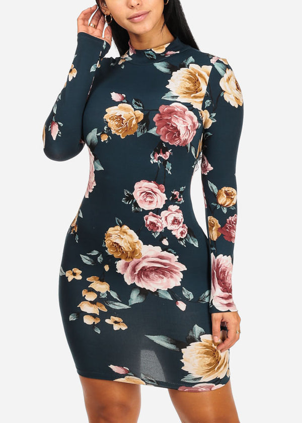 Teal Floral Print Bodycon Dress
