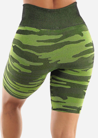 Image of Green Camo Biker Shorts