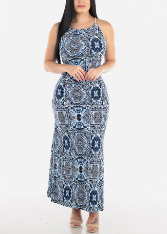 Image of Sleeveless Printed Blue Maxi Dress