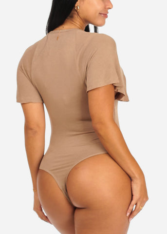 Stylish Wide Sleeve Stretchy Mocha Bodysuit