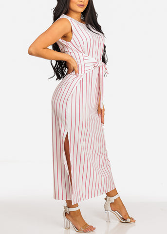 Summer Sleeveless White Stripe Slit Sides Lightweight Maxi Dress