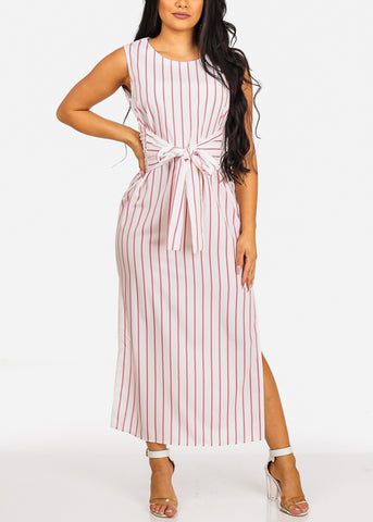 Image of Summer Sleeveless White Stripe Slit Sides Lightweight Maxi Dress