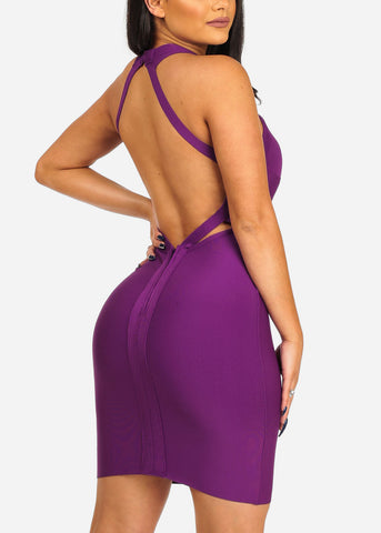 Image of Women's Junior Ladies Clubwear Sexy Night Out Bandage Halter Neckline Open  Back Purple Dress