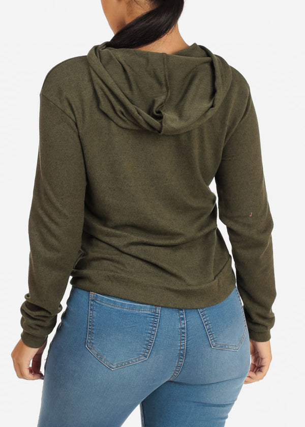 High Neck Olive Sweater with hood