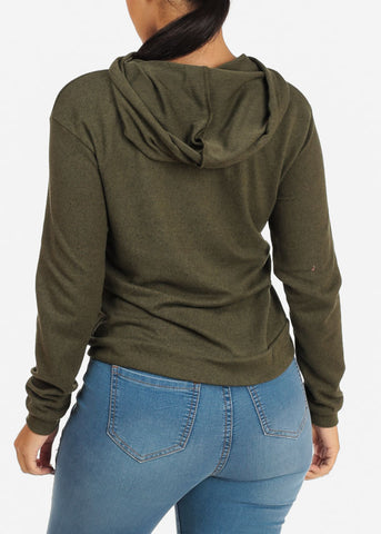 Cozy Long Sleeve High Neck Olive Sweater Top W Hood