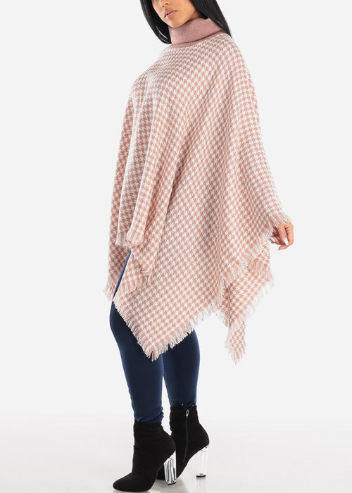 Pink Houndstooth Turtleneck Poncho