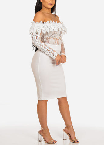 Image of Sexy Women's ladies Juniors Club Wear Night Out Sheer Mesh Floral Solid White Floral Crochet Detail Off Shoulder Long Sleeve Midi White Dress