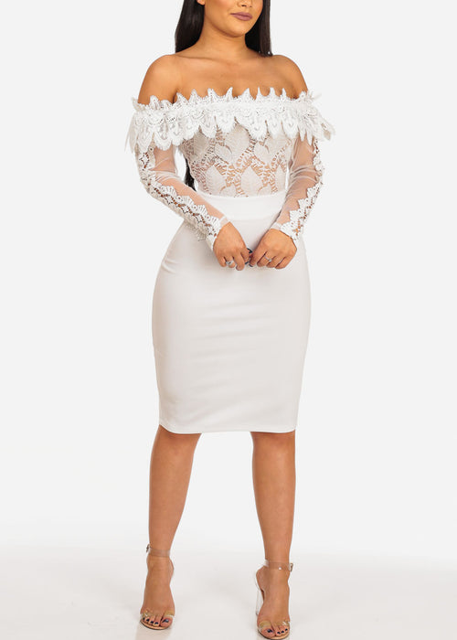 Sexy Women's ladies Juniors Club Wear Night Out Sheer Mesh Floral Solid White Floral Crochet Detail Off Shoulder Long Sleeve Midi White Dress