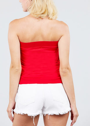 Strapless Pleated Red Top