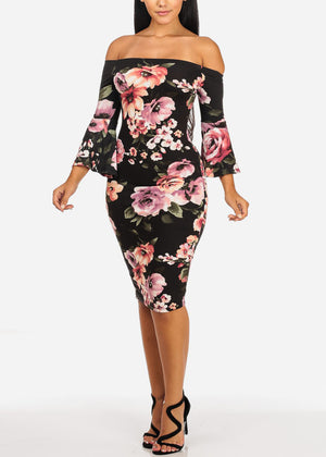Sexy Off Shoulder Floral Midi Dress