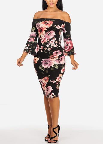 Image of Sexy Off Shoulder Floral Midi Dress