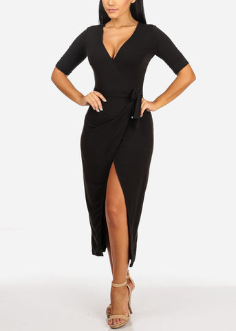 Sexy Black Front Slit Maxi Dress