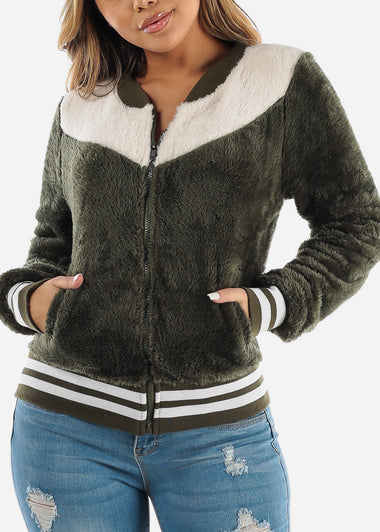 Fluffy Olive Bomber Jacket