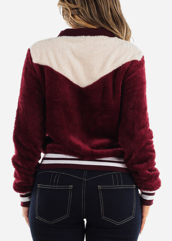 Image of Fluffy Burgundy Bomber Jacket