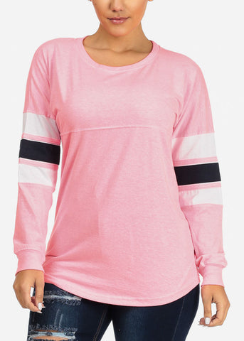Image of Casual Pink Long Sleeve Sweatshirt