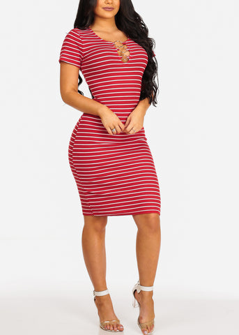 Sexy Casual  Red Stripe Ring Inset V Neckline Bodycon Midi Dress