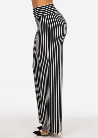 Sexy High Waisted Black And White Stripe Wide Legged Pants