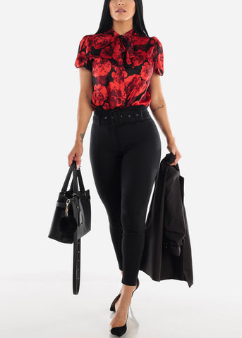 Black & Red Floral Bodysuit