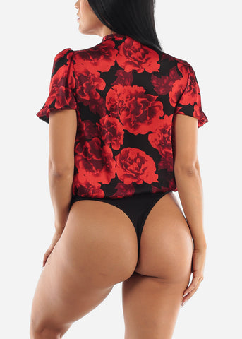 Image of Black & Red Floral Bodysuit