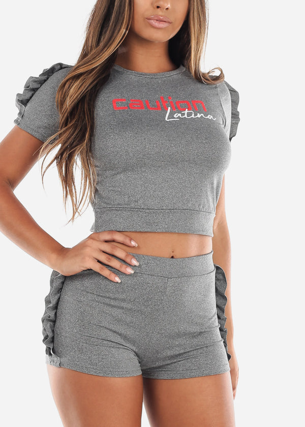 Cute Sexy Crop Top And Shorts Grey Two Piece Sets For Women Ladies Junior Casual Going Out