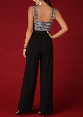 Image of Black & White Plaid Print Jumpsuit