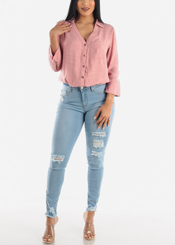 Image of Button Up Pink Bodysuit