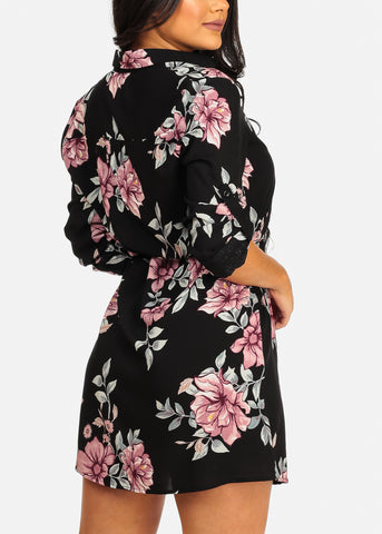 Image of Cute Casual Lightweight Black Floral Print Dress W Tie Belt
