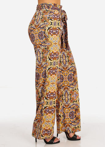 Image of Belted Floral Print High Waist Pants
