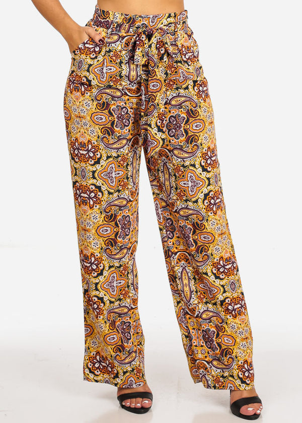Belted Floral Print High Waist Pants