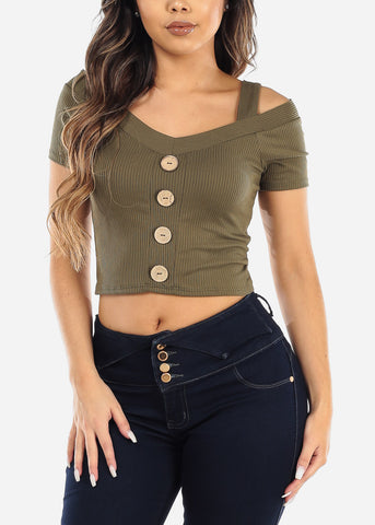 Olive Cold Shoulder Ribbed Crop Top