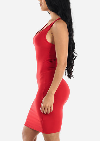 Red Bodycon Racerback Dress