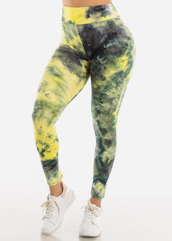 Neon Yellow Tie Dye Leggings