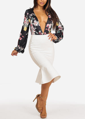 Solid White Ruffled Pencil Skirt