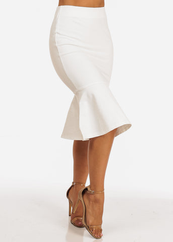 Solid White Pull On Ruffle Hem Skirt