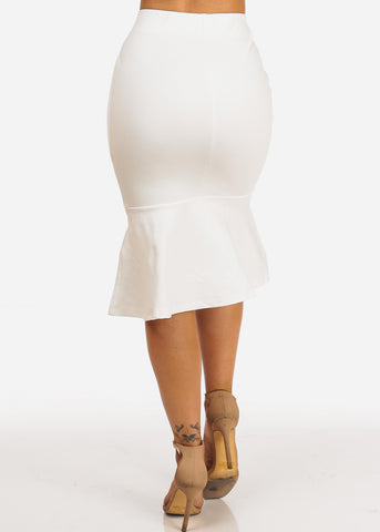 Image of Solid White Ruffled Pencil Skirt