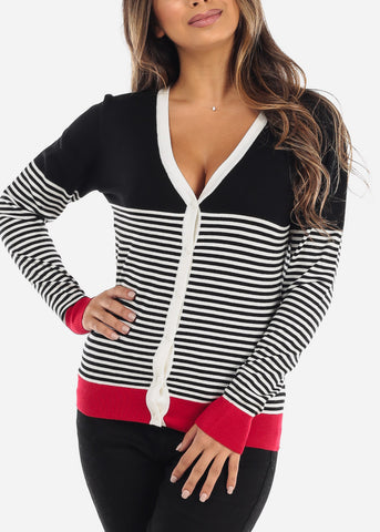 Red Trim Thin Stripe Black Button Down Cardigan SW775BBLK