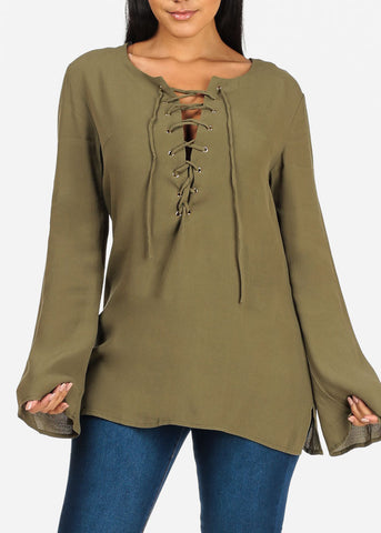 Stylish Long Sleeve Lace Up V Neckline Lightweight Olive Tunic Top
