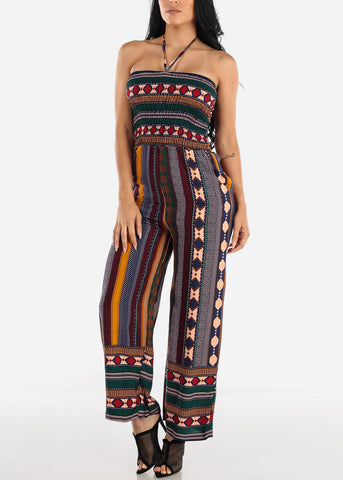 Image of Strapless Stripe Multicolor Jumpsuit