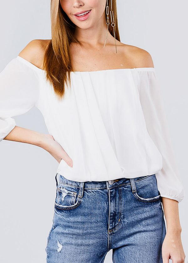 Off Shoulder Shirring White Top
